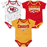 Kansas City Chiefs NFL 'Playmaker' Infant 3 Pack Bodysuit Creeper Set