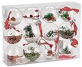 Brubaker 12 Pezzi Set di Baubles di Natale in Acrilico Trasparente - Riempito - Ø 8 cm