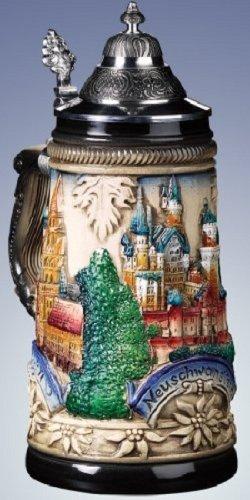 Pinnacle Peak Trading Company LE German Beer Stein with Neuschwanstein Castle Relief .5L Mug Made in Germany -