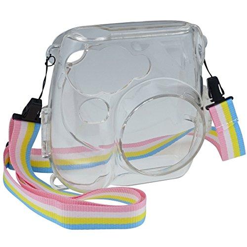 Goocor Kristall Kameratasche mit Verstellbarem Regenbogen Schultergurt und Objektivtuch für Fujifilm Instax Mini 7S Instant Kamera - Transparent
