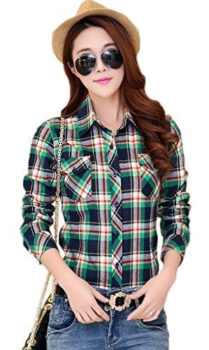 Smile YKK Chemisier Femme Manche Longue Blouse Coton Col Chemise T-shirt à Carreaux Automne Bleu Vert A