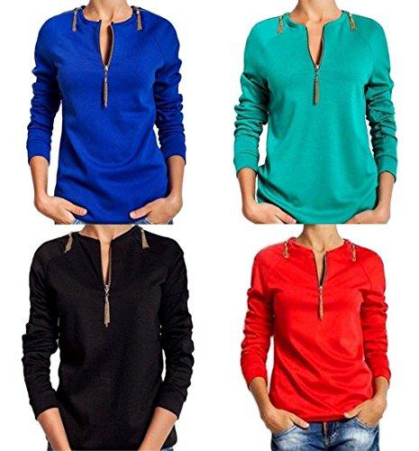 ... Rcool Frauen Langarm Pullover Hoodies O-Ausschnitt Bluse  Kapuzenpullover Hoodies Mode Sweatshirts Pulli Schwarz ... fce4ac9047