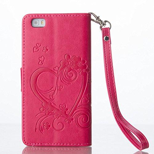 Coque pour iPhone 5 5S 5G / iPhone SE ,Housse en cuir pour iPhone 5 5S 5G / iPhone SE ,Ecoway Amour motif en relief étui en cuir PU Cuir Flip Magnétique Portefeuille Etui Housse de Protection Coque Ét rouge