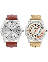Knotyy Analog Round Dial Men Watch / Fashionable Leatherite Belt Men Watch / Watches For Men Combo (Pack Of 2)