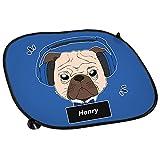 Auto-Sonnenschutz mit Namen Henry und Mops-Motiv mit blauem Kopfhörer für Jungen | Auto-Blendschutz | Sonnenblende | Sichtschutz