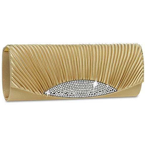 CASPAR ausgefallene Damen Satin Clutch / Abendtasche mit Strassbesatz - viele Farben - TA289 gold