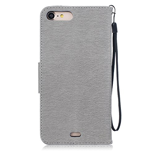 iPhone 8 Plus Hülle Leder Rose Gold,Ultra Slim Exklusive Echtleder Tasche Handyhülle für iPhone 7 Plus,BtDuck 360 Grad Flip Case Vertikal Klappbar aus Echtleder Flip Cover Hülle Lanyard Ledertasche Wa #1 Grau