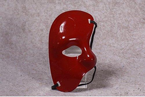 (PromMask Masken Gesichtsmaske Gesichtsschutz Domino falsche Front Venedig Make-up Tanz Party Männer Maske Goldener Einäugiger Halbes Gesicht Maske Plastik cos großes Rot)