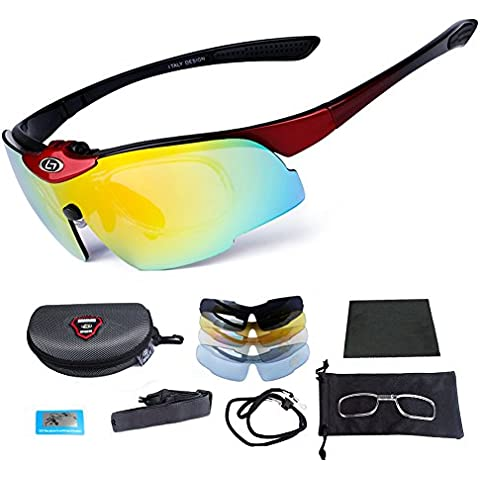 Occhiali da sole sportivi, per corsa, ciclismo, pesca da Cricket per guida moto ciclismo bici Mtb-Set di 5-Occhiali da sole con lenti polarizzate UV400