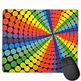 Whecom Retro Rainbow Colored Dots Rotat Non-Slip Personalized Designs Gaming Tappetino Mouse Gaming Black Cloth Rectangle Mousepad Art Natural Rubber Mouse Mat with Stitched Edges 9.8x11.8 Inch