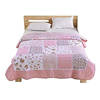 Alicemall Tagesdecke Baumwolle Bettüberwurf 150x200cm Sofa Couch Überwurf  Decke Sommerdecke Gesteppt Steppdecke   Blumen