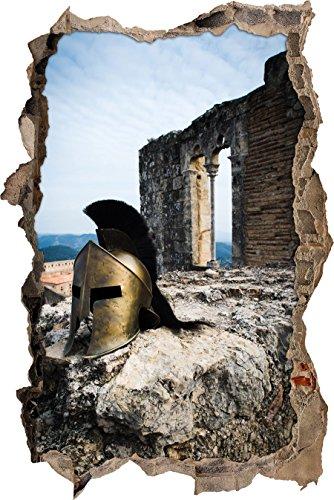 Pixxprint 3D_WD_2450_92x62 Helm von römischen Soldat aus Film 300 Wanddurchbruch 3D Wandtattoo, Vinyl, bunt, 92 x 62 x 0,02 cm (Römischer Soldaten Helm)