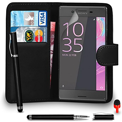 sony-xperia-xa-case-premium-leather-black-wallet-flip-case-cover-pouch-with-2-in-1-ball-pen-touch-st
