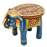 #2: TheVintageDecor Wooden Elephant Table cum Stool / Handcrafted with Artistic Painting