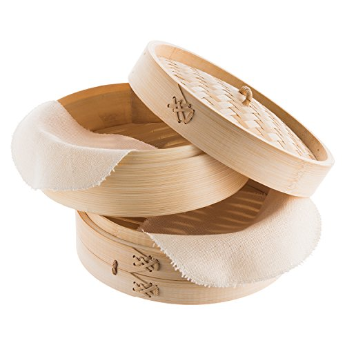 Reishunger Bambusdämpfer (Ø 20 cm), inkl. 2 Baumwolltücher, Für 2 Personen
