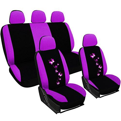 Woltu as7253 set completo di coprisedili per auto macchina seat cover universali protezione per sedile di poliestere con ricamo farfalle nero+viola