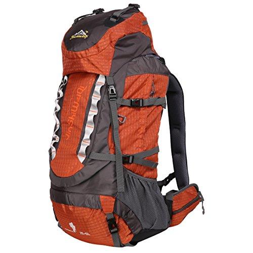 HWJIANFENG Zaini 75+5L Sportivi Unisex in Nylon Poliestere da Trekking Borse per Outdoor Campeggio Escursionismo Viaggi Arancione