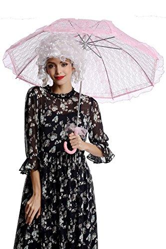 DRESS ME UP YS-001P Parasol Spitze Sonnenschirm Barock Rokoko Viktorianisch Biedermeier Rosa Pink...