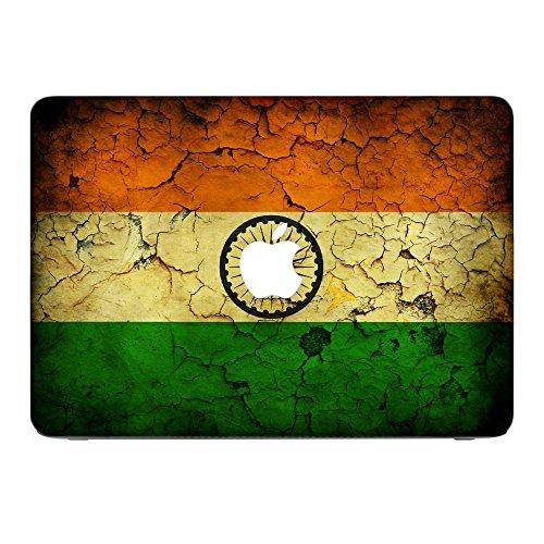 Flagge Indien 1, Weltkarte, Skin-Aufkleber Folie Sticker Laptop Vinyl Designfolie Decal mit Ledernachbildung Laminat und Farbig Design für Apple MacBook Pro Retina 13