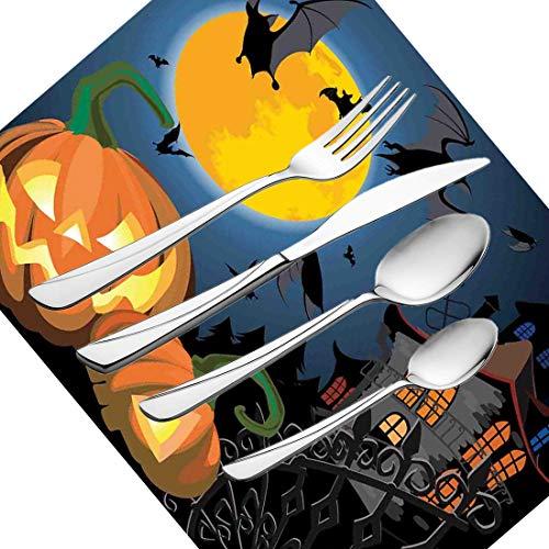 30-teiliges Besteckset, Halloween-Geschirr Besteckset aus Edelstahl für 6 Personen, einschließlich Messer, Gabeln, Löffel, Teelöffel und Tischset, Gothic Halloween Haunted Party-Motiv Desi