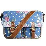 Damen Tasche Messenger Bag Schultertasche Umhängetasche Handtasche K Leder (Navy Blau mit Blumenmuster)