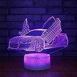 Jinson well 3D auto Lampe optische Illusion Nachtlicht, 7 Farbwechsel Touch Switch Tisch Schreibtisch Dekoration Lampen perfekte Weihnachtsgeschenk mit Acryl Flat ABS Base USB Kabel kreatives Spielzeug