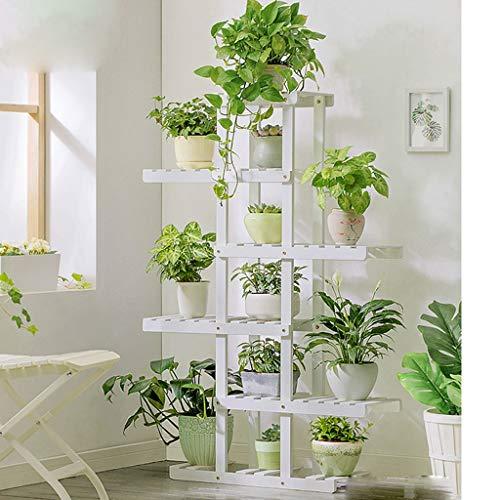 HUIQI Blumenständer YSTSolid Holz Blume Ständer Rack Grün Mehrschichtige Bonsai Blume Regal Balkon Wohnzimmer Indoor Blumentopf Rack Mehrzweck-Blumenständer (Farbe : Weiß, größe : A-130CM)