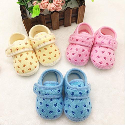 Zhhlinyuan bébé Girls Boys Warm Cotton Crib Shoes Newborn Soft Sole Toddler shoes pink