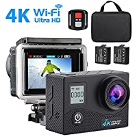 Action Camera, SEGURO 4K Sport Camera 16MP UHD, WiFi Action Camera Waterproof Sport Camera, 170 Degree Wide Angle Lens, Dual Screen, 2 Rechargeable Battery, Outdoor Accessories Kits Digital Video Camera + Hand Carry Kit Bag