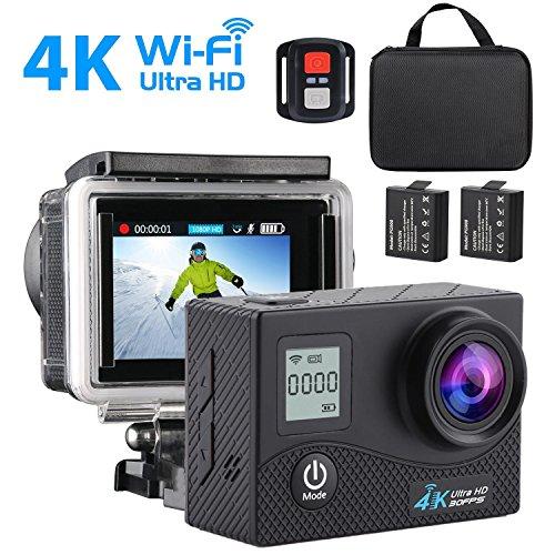 4K Sport-Kamera, SEGURO 16MP Ultra HD Action Cam Wasserdicht 170 Grad Weitwinkel Doppelschirm Kamera mit 2 Aufladbare Batterien + Handgelenk Fernbedienung + Zubehör Kits für Radfahren Schwimmen Klettern Tauchen