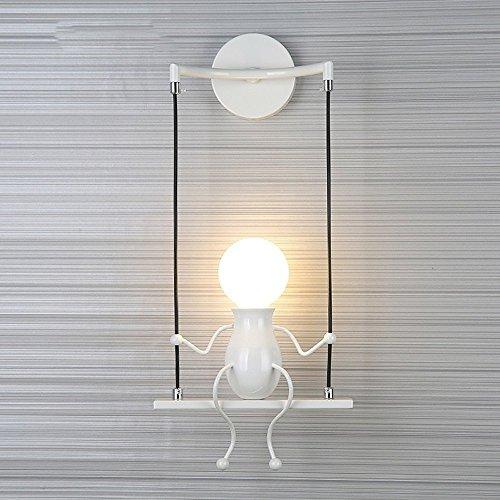 FSTH Simple Poupée De Mode Balançoire Enfants Applique Murale Moderne Salon Chambre Créative De Chevet Mur Lumière Vacances/Cadeau De Mariage (Blanc)