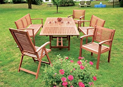 7-teilige Garnitur Cordoba aus Eukalyptus, 6x Sessel, 1x Ausziehtisch 230cm, FSC®-zertifiziert