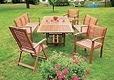 7-teilige Garnitur Cordoba aus Eukalyptus, 6x Sessel, 1x Ausziehtisch 230cm, FSC-zertifiziert