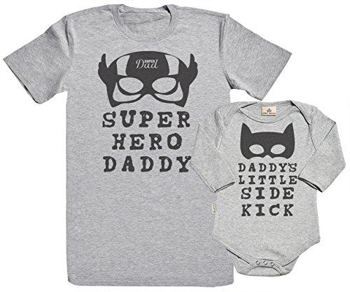 SR - Geschenkpackung Baby Geschenkset - Super Hero Daddy & Daddy's Little Side Kick 100% Biobaumwolle - Papa T-Shirt & Baby Strampler - Vater Baby Geschenkset - Grau - L & 0-6M -