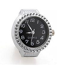 Gleader Reloj de Anillo Cuarzo Aleacion Plateado Esfera Negra para Mujer Senora