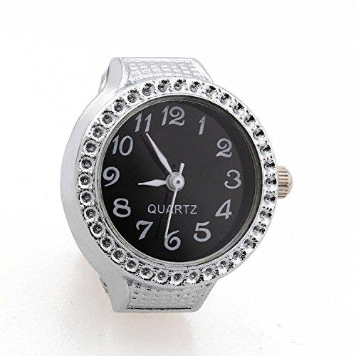 TOOGOO(R)Ring Uhr Quarz Silber Legierung Schwarz Kugel fuer Frauen Dame