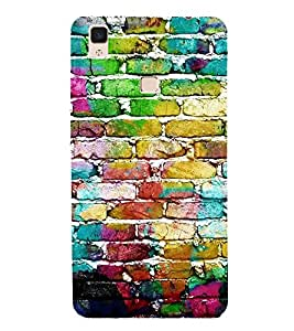 Fiobs Designer Back Case Cover for Vivo V3 Max (Colorful Bricks Cool design Patterns Wall Home)