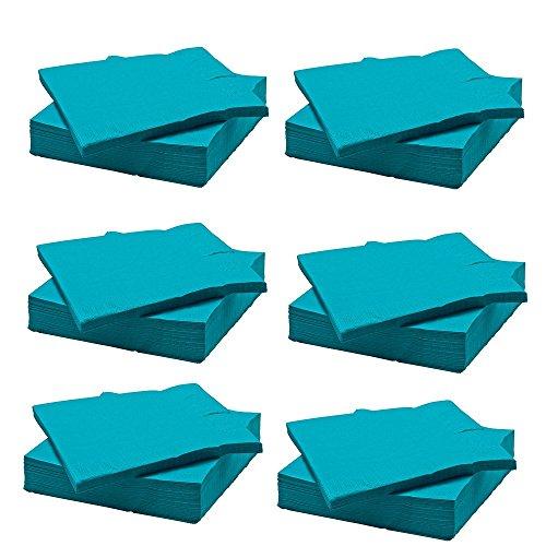 IKEA FANTASTISK Papierservietten in türkis; (40 x40cm); dreilagig; 6 mal 50 Stück