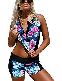 Aleumdr Womens Floral Print Bowknot Padded Tankini Top 2pcs Swimsuits Set with Boyshorts