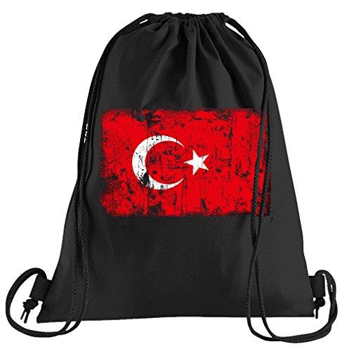 T-Shirt People Türkei Vintage Flagge Fahne Sportbeutel - bedruckter Beutel - eine schöne Sport-Tasche Beutel mit Kordeln