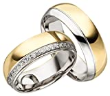 Verlobungsringe Eheringe Trauringe Partnerringe 2 Ringe Gold Plattiert JC013 *mit Gravur und Stein*