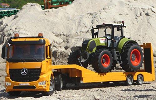 WIM-SHOP 2-STÜCK RC Tieflader LKW Mercedes + XL Traktor Claas Ferngesteuert (Rc Tieflader)