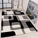Paco Home Designer Teppich in Grau Schwarz Weiss Retro Design Top Qualität zum Top Preis!!, Grösse:70x250 cm