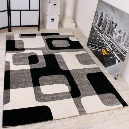 Designer Rug Retro Design Top Quality Top Price Grey Black White 190x280 cm