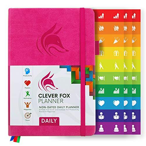 Clever Fox Tagesplaner - Bester Agenda & Tageskalender zur Steigerung deiner Produktivität, Zufriedenheit und Ziele im Jahr 2019 - Persönlicher Tagesorganisator - A5, Undatiert, Rosa