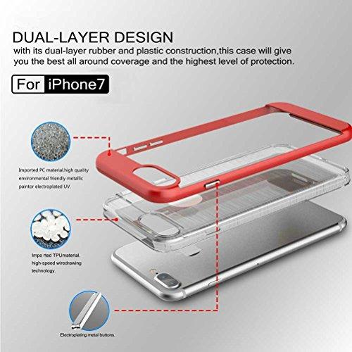"""iPhone 7 Coque, AOFad Case Mince Protection des lourds 2-à-1 Jaune TPU Avec 11 Colors Tréfilage Accessoires Série Pour Femme Homme 4.7"""" I695 AOFad B304"""
