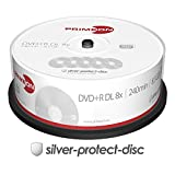 PRIMEON DVD+R DL 8.5GB/240Min/8x Cakebox (25 Disc), silver-protect-disc Surface