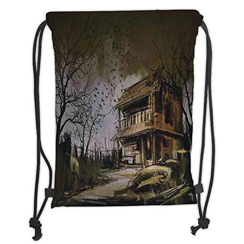 GONIESA Drawstring Sack Backpacks Bags,Rustic Home Decor,Old Haunted Abandoned Wood House at Dark Night with Bats Scary Horror Paint,Multi Soft Satin,5 Liter Capacity,Adjustable String Closure,