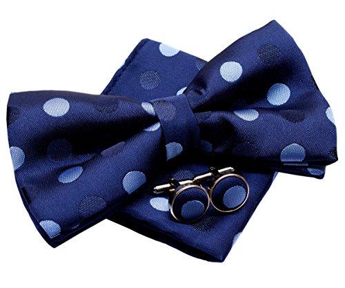 polka dots pre-tied tissé bicolore Nœud Papillon (12,7cm) W/Pocket Square & boutons de manchette Set cadeau Navy Blue with Blue Polka Dots
