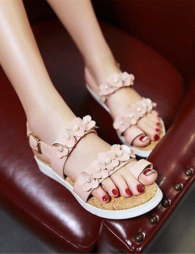 LFNLYX Scarpe Donna-Sandali-Formale / Casual / Serata e festa-Comoda-Piatto-Finta pelle-Nero / Blu / Rosa / Bianco Pink